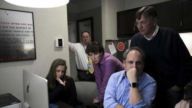 Amy McGrath, Democratic candidate for Congress in Kentucky, watches election results from a hotel in Richmond, Ky., Nov. 6, 2018. McGrath, a retired Marine combat aviator, was supposed to be the Democrat who could bridge the urban-rural chasm. But her loss in a Kentucky congressional race exemplifies the nation's divide. (Maddie McGarvey/The New York Times)