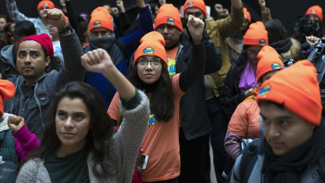 FILE -- Supporters of DACA recipients protested in Washington on Jan. 16, 2018. in January. A federal appeals court on Thursday, Nov. 8, 2018, upheld a nationwide injunction against the Trump administration's attempt to end the program that allows people who were brought into the United States illegally as children to remain in the country temporarily. (Tom Brenner/ The New York Times)