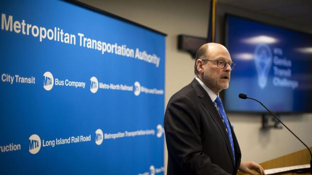 Joseph Lhota, chairman of the Metropolitan Transportation Authority, speaks at an event in New York, March 9, 2018. Lhota, who was in control of New York City's troubled subway, has resigned after the election of Gov. Andrew Cuomo to a third term, a state official said on Nov. 9, 2018. (Dave Sanders/The New York)