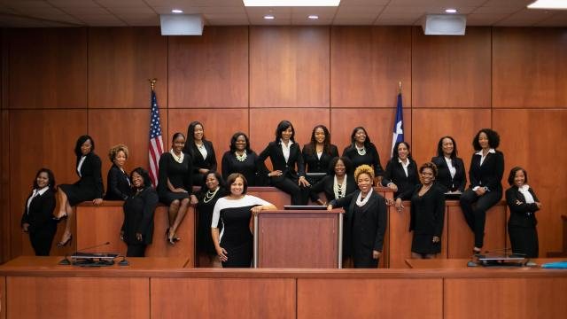 In a photo provided by the Harris County Democrats, the 19 black women who ran for judgeships in Houston and Harris County, Texas, in the 2018 midterms. On Election Day, 17 of them won their races by double digits. (Christin Mcqueen via The New York Times) -- NO SALES; FOR EDITORIAL USE ONLY WITH NYT STORY TEXAS-DEMS-JUDGES BY HASSAN FOR NOV 10, 2018. ALL OTHER USE PROHIBITED. --
