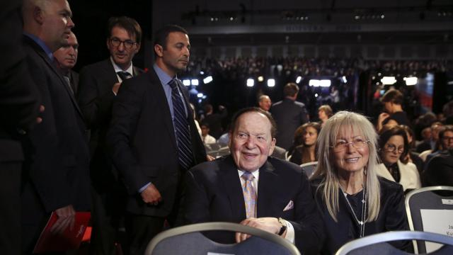 FILE — Sheldon Adelson, the casino magnate, and his wife, Miriam Adelson, at the first debate between Hillary Clinton and Donald Trump at Hofstra University in Hempstead, N.Y., Sept. 26, 2016. President Trump will bestow the Presidential Medal of Freedom, the nation's highest civilian award, on Miriam Adelson as well as a host of conservative political figures and cultural and athletic luminaries, including Elvis Presley and Babe Ruth. (Damon Winter/The New York Times)