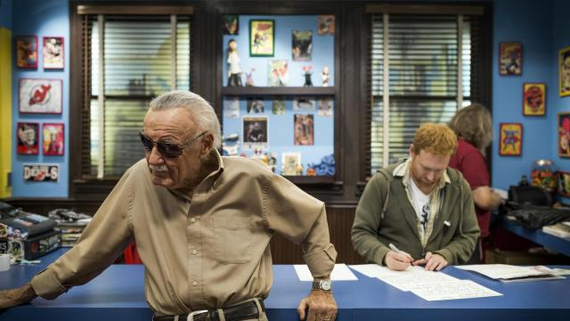 """FILE -- Stan Lee on the set of AMC's """"Comic Book Men"""" at Jay and Silent Bob's Secret Stash, a comic book store in Red Bank, N.J., on Sept. 7, 2012. Lee — who as chief writer and editor of Marvel Comics helped create some of the most enduring superheroes of the 20th century and oversaw his company's emergence as an international media behemoth — died on Nov. 12, 2018, the Associated Press reported. He was 95. (Chad Batka/The New York Times)"""