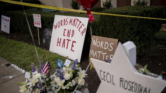 FILE -- The memorial site for the 11 victims killed by a shooter at Tree of Life Congregation in Pittsburgh, Oct. 31, 2018. Hate crime increased 17 percent last year from 2016, the FBI said on Nov. 13, 2018, rising for the third consecutive year as heated racial rhetoric and actions have come to dominate the news. (Hilary Swift/The New York Times)