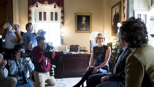 Rep. Kyrsten Sinema (D-Ariz.), an incoming Senator, during a meeting with Senate Minority Leader Chuck Schumer (D-N.Y.) on Capitol Hill in Washington, Nov. 13, 2018. Sinema's upset victory in Arizona on Monday night marked the first time a Democrat has been elected to the Senate from that state since 1988. (Erin Schaff/The New York Times)