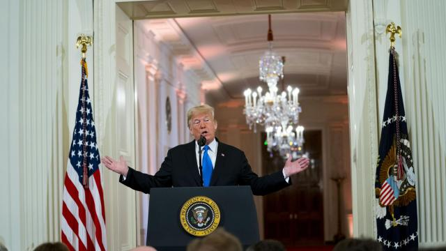 President Donald Trump during a post-election news conference in the East Room of the White House, in Washington, Nov. 7, 2018. There was little dispute, even before Election Day, that Trump was exploiting the migrant caravan for political purposes. (Doug Mills/The New York Times)