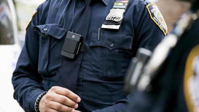 FILE -- New York Police officers from the 34th Precinct head out on patrol donning new body cameras in New York, April 27, 2017. Police body-camera footage raises questions about an arrest on Staten Island and offers an up-close look at a common kind of encounter the public seldom sees. (Sam Hodgson/The New York Times)