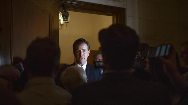 New York State Sen. John Flanagan, a Republican, speaks to reporters at the Capitol in Albany on Nov. 16, 2018. Flanagan will remain atop the party's conference after withstanding a leadership challenge. (Nathaniel Brooks/The New York Times)