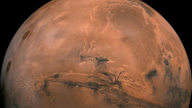 A photo provided by NASA of composite image of Mars made from hundreds of photos taken by the Viking orbiters in the 1970s. NASA's attempt to place its InSight lander on Mars on Nov. 26, 2018, will mark the culmination of a busy year for news about the red planet. (NASA via The New York Times) -- FOR EDITORIAL USE ONLY --