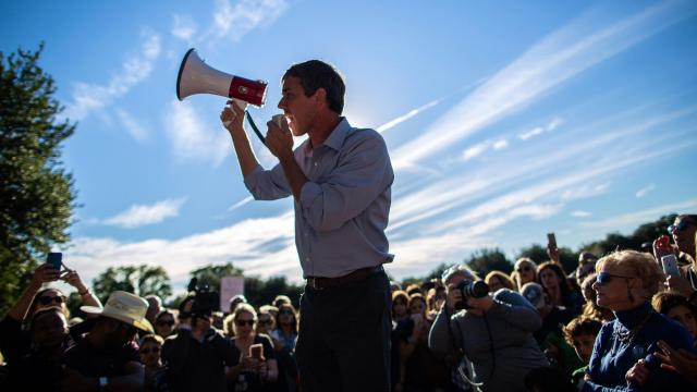 """FILE -- Rep. Beto O'Rourke, the Democratic candidate for Senate in Texas, speaks at a campaign event in Dallas, Nov. 2, 2018. During his campaign against Sen. Ted Cruz (R-Texas), O'Rourke said repeatedly he wouldn't run for president in 2020. But on Monday, he said he had """"made a decision not to rule anything out."""" (Tamir Kalifa/The New York Times)"""