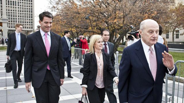 FILE -- Bill Baroni, left, and Bridget Anne Kelly, two aides to former Gov. Chris Christie of New Jersey, walk out of a courthouse in Newark, N.J., Nov. 3, 2016. A federal appeals court dismissed two of the seven counts against the two aides, opening the chance that their prison sentences could be lessened. (Bryan Anselm/The New York Times)