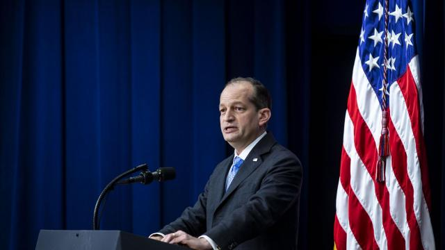 FILE -- Labor Secretary Alex Acosta speaks at a conference at the Eisenhower Executive Office Building, on the White House complex in Washington, Nov. 15, 2018. Acosta is the former chief federal prosecutor in Miami who signed off on the plea deal for Jeffrey Epstein, who was accused of paying dozens of underage girls for sexual massages. (Al Drago/The New York Times) .