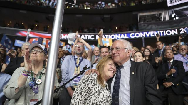 FILE -- Sen. Bernie Sanders (I-Vt.) and his wife, Jane with, at the Democratic National Convention, in Philadelphia, July 26, 2016. As speculation grows about whether Sanders will mount another bid for the White House, he and his wife returned to Vermont for the inaugural Sanders Institute Gathering, a three-day symposium to discuss progressive issues. (Sam Hodgson/The New York Times)