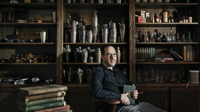 "Greg Boehm, a cocktail aficionado and owner of the barware company Cocktail Kingdom, in New York, Nov. 1, 2018. Boehm, who owns some 3,000 vintage books on mixology and drinking culture, has made his collection of rare recipes public. He discusses the evolution of cocktail culture in the city, which he describes as ""a tricky place right now."" (Dina Litovsky/The New York Times)"