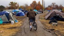 IMAGES: After a California Wildfire, New and Old Homeless Populations Collide