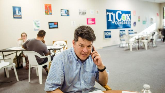 FILE -- T.J. Cox, a Democratic congressional candidate, makes calls at the phone bank at his campaign headquarters in Hanford, Calif., June 4, 2018. With Cox's victory, Democrats have now captured 40 House seats from Republicans. (Ryan Christopher Jones/The New York Times)