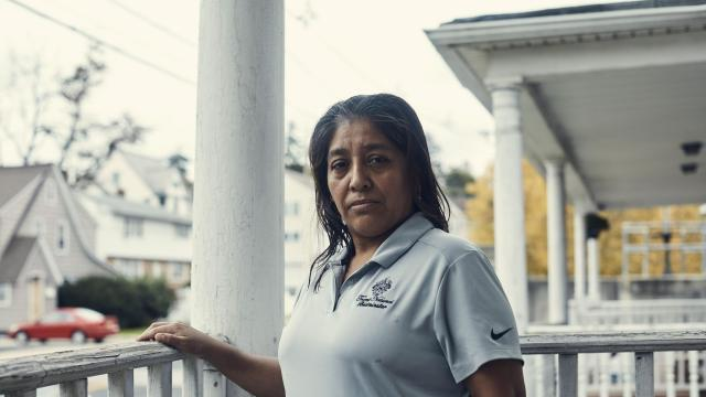 """Victorina Morales at her home in Bound Brook, N.J., Nov. 2, 2018. At the president's New Jersey golf course, Morales, an undocumented immigrant, has worked as a maid since 2013. She said she never imagined she """"would see such important people close up."""" (Christopher Gregory/The New York Times)"""