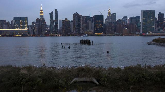 An outfall between the East River and wetlands designed to absorb stormwater inside Hunters Point Park South in the Long Island City neighborhood of Queens, New York, Dec. 1, 2018. Amazon plans to build a campus for as many as 25,000 workers over an aging sewage system in the neighborhood. The city says the pipes can handle the wastewater, but residents are worried. (Dave Sanders/The New York Times)