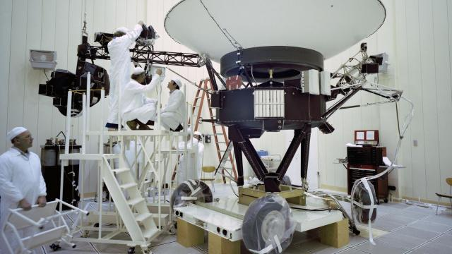 A photo provided by NASA's Jet Propulsion Laboratory shows NASA engineers working on the Voyager 2 spacecraft in 1977. The plutonium-powered spacecraft, launched in 1977 to make a tour of the giant planets, has entered interstellar space. (NASA/JPL-Caltech via The New York) -- NO SALES; FOR EDITORIAL USE ONLY WITH NYT STORY SCI-VOYAGER-SPACECRAFT BY KENNETH CHANG FOR DEC. 11, 2018. ALL OTHER USE PROHIBITED. --