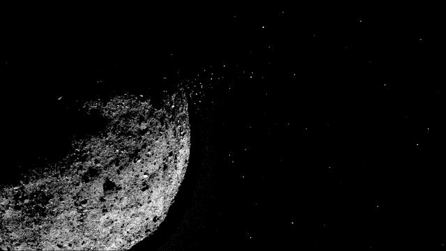 An image provided by NASA/Goddard/University of Arizona/Lockheed Martin shows particles ejecting from asteroid Bennu's surface on Jan. 19, 2019. Of the 8,000 asteroids discovered, only 12 have ever been observed releasing their material into space. (NASA/Goddard/University of Arizona/Lockheed Martin via The New York Times) -- FOR EDITORIAL USE ONLY --