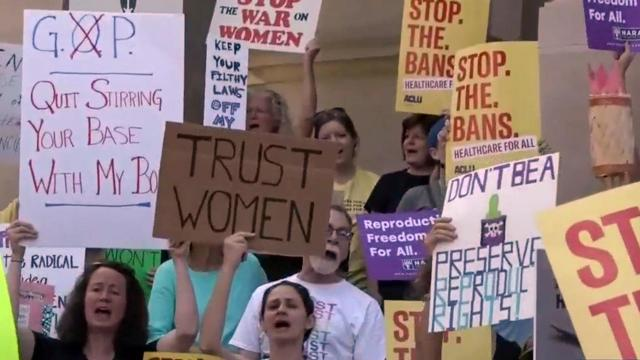 Abortion rights backers protest states' new restrictions