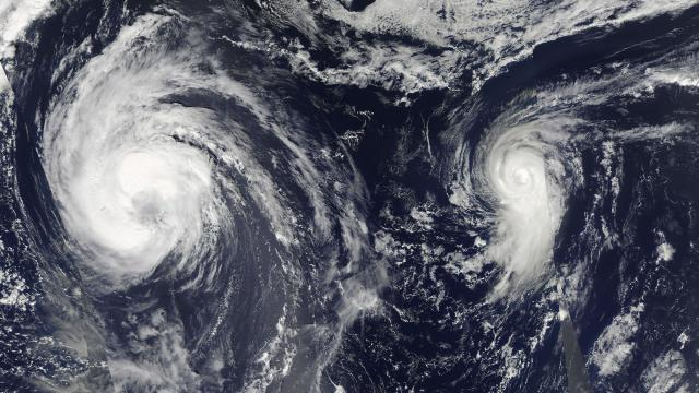 "An image created by two NASA satellite images of Tropical Storm Leslie and Hurricane Michael spinning in the Atlantic Ocean in September 2018. This year's Atlantic hurricane season should be ""near normal,"" government forecasters announced on May 23, 2019, with the likelihood of nine to 15 named storms, and two to four major Category 3 hurricanes with winds of 111 miles per hour or greater. (NASA/Goddard via The New York Times) -- FOR EDITORIAL USE ONLY --"