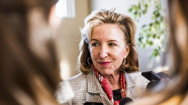FILE -- Sen. Kay Hagan (D-N.C.) in Asheville, N.C., Oct. 28, 2014. Hagan, who served one term after defeating Elizabeth Dole, a Republican, in 2008, died on Oct. 28, 2019, at her home in Greensboro, N.C. She was 66. (Mike Belleme/The New York Times)