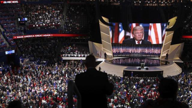 FILE -- Donald Trump appears on a large screen July 21, 2016, where he accepted the Republican Party's nomination at its convention in Cleveland, July, 21, 2016. President Trump has made clear that he wants a traditional political convention in Charlotte, N.C., in late August, with thousands of sign-waving delegates from out of state filling an arena to acclaim his renomination. (Sam Hodgson/The New York Times)