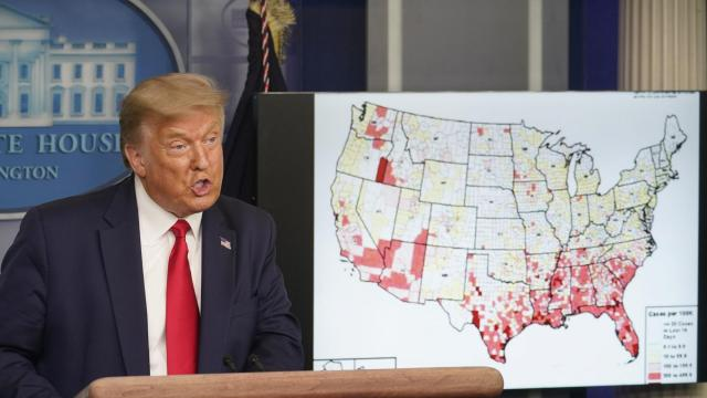 President Donald Trump speaks in the briefing room at the White House in Washington, Thursday, July 23, 2020, where he announced the Jacksonville, Fla., component of the Republican National Convention has been cancelled. (Doug Mills/The New York Times)