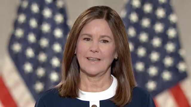 Karen Pence, wife of Vice President Mike Pence, addresses the Republican National Convention via video on Wednesday, Aug. 26, 2020. (Republican National Convention via The New York Times) -- NO SALES - EDITORIAL USE ONLY --