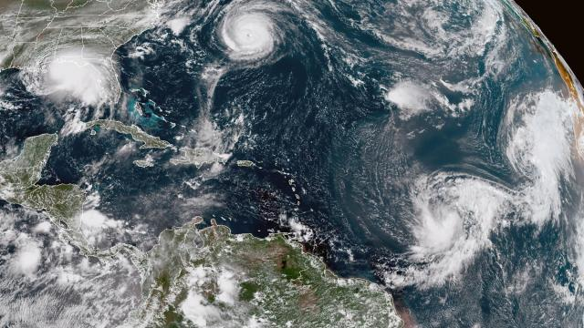 "A satellite image provided by the National Oceanic and Atmospheric Administration on Monday, Sept. 14, 2020, shows five storms churning in the Atlantic basin, from left: Hurricane Sally, Hurricane Paulette, the remnants of Tropical Storm Rene and Tropical Storms Teddy and Vicky. Barely halfway through what one meteorologist called a ""hyperactive"" season, there is only one entry left on the 21-name list used for storms. (NOAA via The New York Times) -- EDITORIAL USE ONLY --"