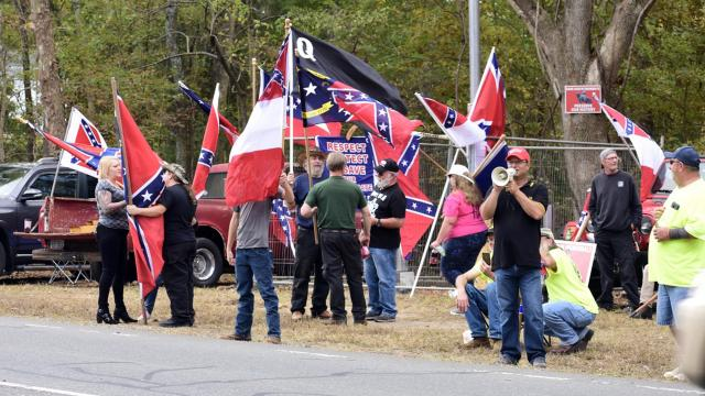 Members of the Proud Boys join in a protest in Pittsboro. (Photo courtesy of Anthony Crider)
