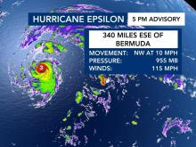 Hurricane Epsilon strengthens to a Cat. 3