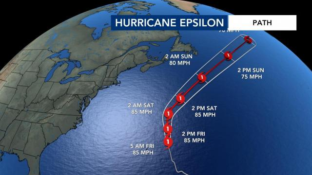 Hurricane Epsilon's path as of Friday, 7:30 a.m.