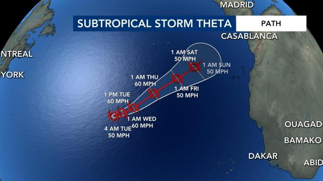 Subtropical storm Theta