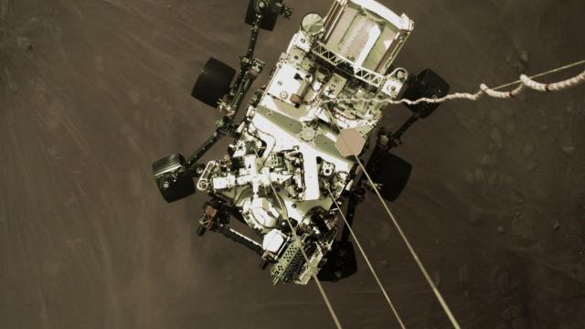 An image from NASA of the Perseverance rover as it is lowered by the sky crane to the surface of Mars on Feb. 18, 2021. The newest Martian, a robot named Perseverance, is alive and well after its first day and night on the red planet, and scientists working on the mission are eagerly scrutinizing the first images sent back to Earth by the robotic explorer. (NASA via The New York Times) — FOR EDITORIAL USE ONLY. —