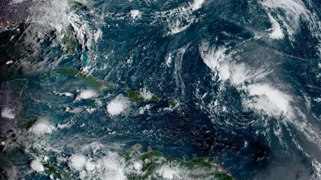 An undated image provided by NOAA shows Tropical Storm Peter, which formed in the Atlantic Ocean on Sunday, Sept. 19, 2021. The storm formed in the Atlantic Ocean east of the Caribbean on Sunday, forecasters said, announcing the 16th named storm of the 2021 season. (NHC, NOAA via The New York Times) -- FOR EDITORIAL USE ONLY. --