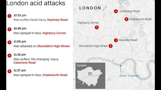 Five men were attacked with acid in London on Thursday night with one man suffering life-changing facial injuries in what police are treating as linked assaults.