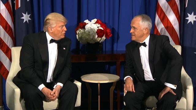President Donald Trump and Australian Prime Minister Malcolm Turnbull at a meeting aboard the USS Intrepid in New York on May 4, 2017. (File Photo)