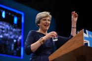 IMAGE: Theresa May's nightmare speech: a prankster, a lost voice and a stage-set fail