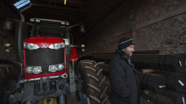 """Ross Mitchell, who owns and manages Castleton Farm, in Fordoun, Scotland, Dec. 8, 2017. The farm is struggling to find enough workers to pick fruit, a problem encountered by other employers since Britain voted last year to leave the European Union. """"Guys who've worked five, six years with us started saying, 'We're not returning,'"""" Mitchell said. """"It all came to a head in late summer and autumn."""" (Kieran Dodds/The New York Times)"""