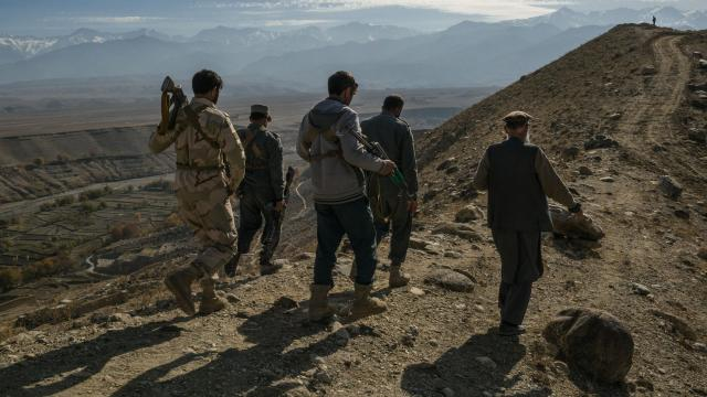 Some of the men in charge of the war against the Islamic State group in Khogyani, in eastern Afghanistan, Dec. 1, 2017. The Islamic State is far from being vanquished in eastern Afghanistan, even as the group is on the run in its core territory in Iraq and Syria. (Mauricio Lima/The New York Times)