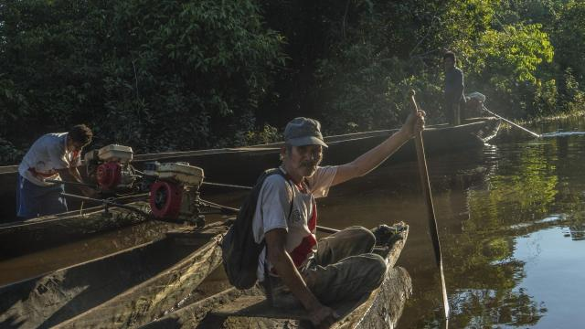 Amadeo García García fishes outside of Intuto, Peru, July 14, 2017. The Taushiro tribe vanished into the jungles of the Amazon basin in Peru generations ago, and Amadeo is now the last native speaker of their language. (Ben C. Solomon/The New York Times)