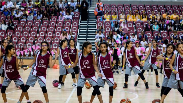 Young cheerleaders at an all-female basketball tournament to raise awareness for breast cancer, which men were barred from attending, in Jeddah, Saudi Arabia, Nov. 11, 2017. Iran and Saudi Arabia, the archrivals of the Middle East, are competing in a surprising new arena: which country is less repressive toward women. (Tasneem Alsultan/The New York Times)