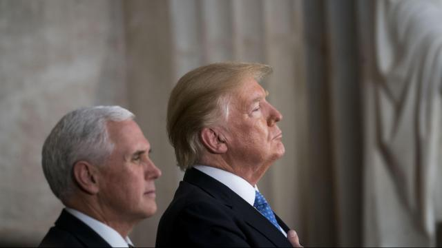 President Donald Trump with Vice President Mike Pence at the Capitol in Washington, Jan. 17, 2018. Approval of American leadership has dropped nearly 20 percentage points since President Barack Obama's final year in office in countries around the world, a Gallup survey found. (Doug Mills/The New York Times)