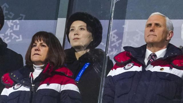 Vice President Mike Pence and his wife, Karen Pence, stand with Kim Yo-jong, sister of North Korean leader Kim Jong-un, during the opening ceremony of the 2018 Winter Olympics in Pyeongchang, South Korea, on Friday, Feb. 9, 2018. Flashing a and without ever speaking in public, Kim managed to outflank Pence, President Donald Trump's envoy to the Olympics, in the game of diplomatic image-making during their time in the country. (Doug Mills/The New York Times)