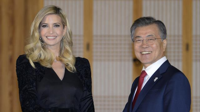 President Moon Jae-In of South Korea shakes hands with Ivanka Trump at the  Presidential