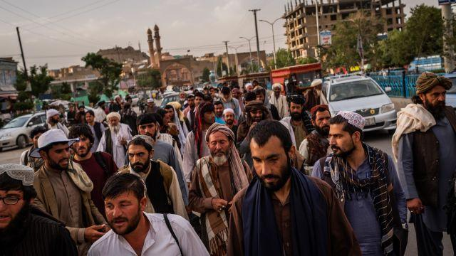 FILE — A peace march in Ghazni, a city of strategic import in southeastern Afghanistan, June 10, 2018. Though the Afghan government declared on Aug. 11 that Ghazni was in no danger of falling to the Taliban, a New York Times reporter who entered the city that morning found insurgents confidently in control at every intersection. (Jim Huylebroek/The New York Times)