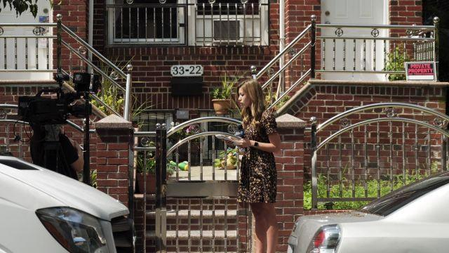 EDS. RETRANSMISSION TO CLARIFY LOCATION *** Reporters near the home of Jakiw Palij in Queens, Aug. 21, 2018. Palij, a former Nazi guard, lived a quiet life in New York City for decades, having lied on his U.S. immigration papers in 1949 about the type of work he did during World War II. But on Tuesday, he was deported to Germany, ending a 14-year battle to remove him from American soil. (Elias Williams/The New York Times)
