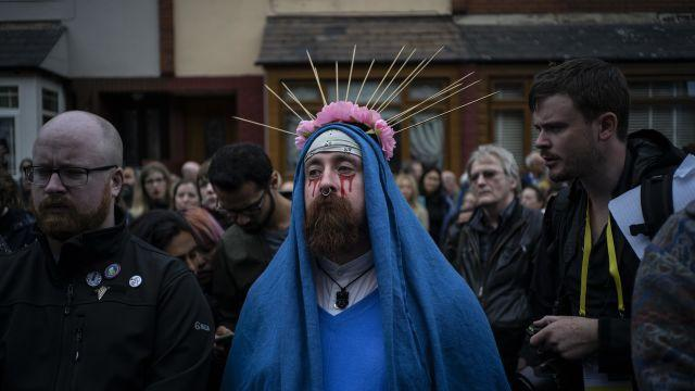 A man dressed as the Virgin Mary takes part in a protest against child abuse in the Roman Catholic Church, during Pope Francis' visit to Ireland, in Dublin, Aug. 26, 2018. Carlo Maria Viganò, formerly the Vatican's top diplomat in the United States, charges that Francis was complicit in covering up sexual abuses by Cardinal Theodore McCarrick. (Paulo Nunes dos Santos/The New York Times)