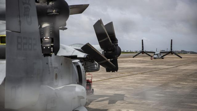 Osprey aircraft on the runway at Marine Corps Air Station Futenma, a U.S. base on the Japanese island of Okinawa, in Ginowan, Japan, Sept. 26, 2018. Denny Tamaki, the son of a U.S. Marine who was elected governor Sunday, opposes U.S. military bases on the island. (Lauren DeCicca/The New York Times)